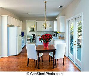 nowoczesny, jeść, w, kuchnia, dom wnętrze