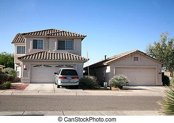 nowoczesny, klasyczny, amerykanka, dom