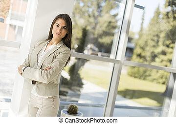 nowoczesny, kobieta interesu, w, biuro