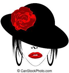 nowoczesny, kobieta, z, kapelusz, i, earrings