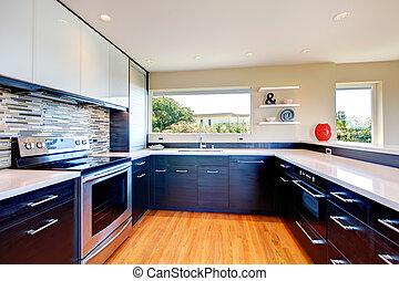 nowoczesny, kuchnia, pokój, projektować