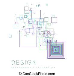 nowoczesny, kwadraty, tło, style.
