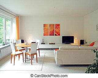 nowoczesny, livingroom, w, pastelowy kolor