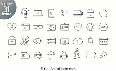 nowoczesny, media, sieć, i, ruchomy, app, cienka lina, ikony, collection., szkic, ikona, set., bezpieczeństwo