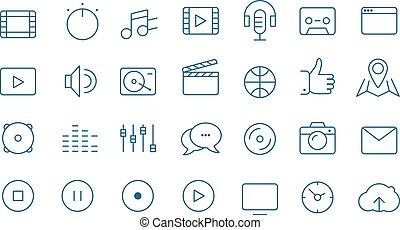 nowoczesny, media, sieć, i, ruchomy, app, cienka lina, ikony, zbiór