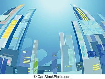 nowoczesny, miasto, krajobraz