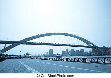 nowoczesny, miasto, most