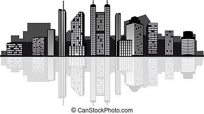 nowoczesny, miasto skyline