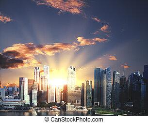 nowoczesny, miasto, z, światło słoneczne