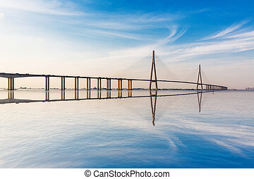 nowoczesny, most, na, przedimek określony przed rzeczownikami, yangtze rzeka, na, sunset.