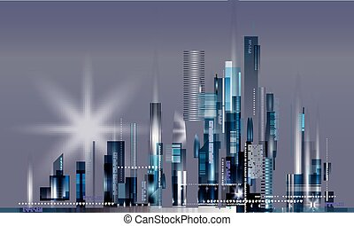 nowoczesny, noc, miasto skyline
