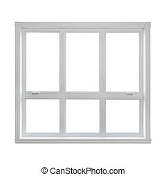 nowoczesny, okno, odizolowany, na białym, tło