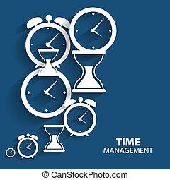 nowoczesny, płaski, czasowe kierownictwo, wektor, ikona,...