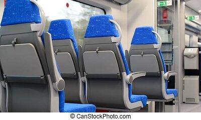 nowoczesny, pociąg, z, błękitny, siedzenia, w ruchu
