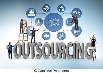 nowoczesny, pojęcie, handlowy, outsourcing