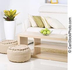 nowoczesny pokój, żyjący, wewnętrzny, design., biały