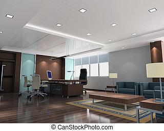 nowoczesny pokój, biuro, 3d