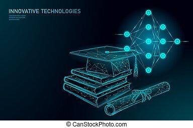 nowoczesny, poly, korona, projektować, nauka, technologia, polygonal, sieć, concept., sztuczny, maszyna, niski, szablon, 3d, handlowy, dyplom, ilustracja, chorągiew, trening, nerwowy, książki, intelligence., skala, wektor