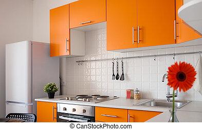 nowoczesny, pomarańcza, kuchnia
