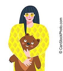 nowoczesny, portret, kobieta, teddy, design., młody, ...