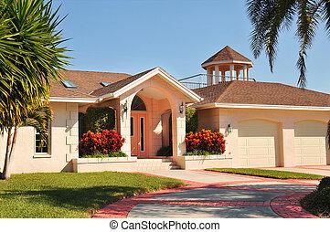 nowoczesny, rancho, styl, dom, z, balkon