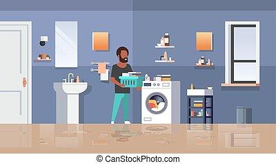 nowoczesny, reputacja, łazienka, litera, długość, maszyna, prace domowe, wewnętrzny, płaski, pełny, pralnia, poziomy, rysunek, człowiek, myć, pokój, amerykanka, afrykanin, kosz, facet, samiec, odzież