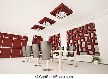 nowoczesny, sala konferencyjna, wewnętrzny, 3d