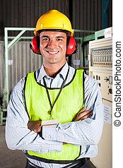 nowoczesny, samiec, fabryka pracownik