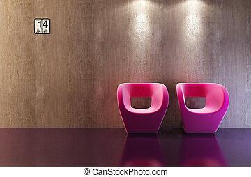 nowoczesny, sofa, 3d, przedstawienie