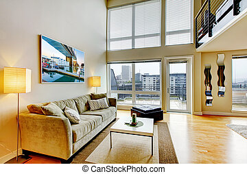 nowoczesny, strych apartament, życie pokój, interior.