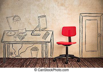 nowoczesny, strych, biuro