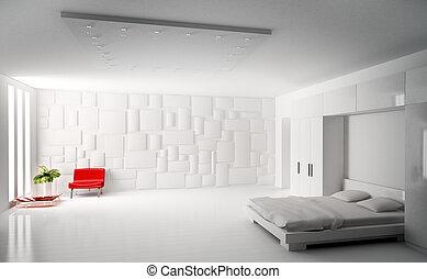 nowoczesny, sypialnia, wewnętrzny, 3d, render