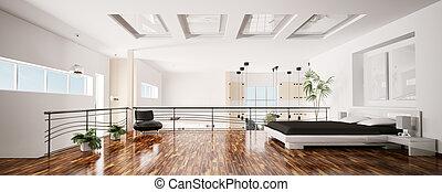 nowoczesny, sypialnia, wewnętrzny, panorama, 3d