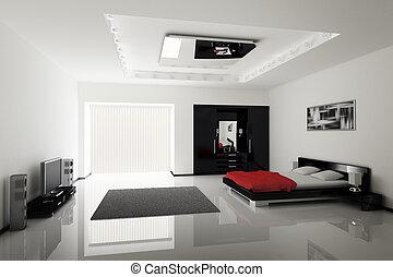 nowoczesny, sypialnia, wewnętrzny