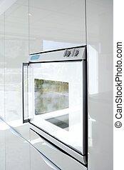nowoczesny, szczegół, architektura, piec, biały, kuchnia