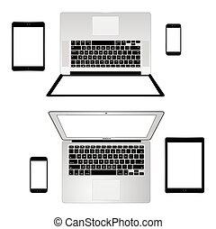 nowoczesny, telefon, tabliczka, laptop