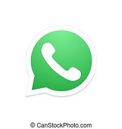 nowoczesny, telefon, wektor, bańka mowy, ikona