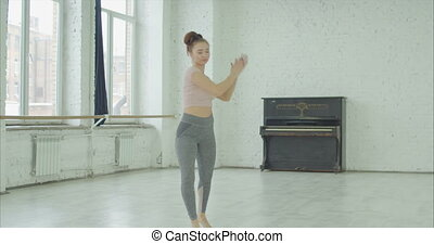 nowoczesny, utalentowany, taniec, spełnianie, tancerz, studio