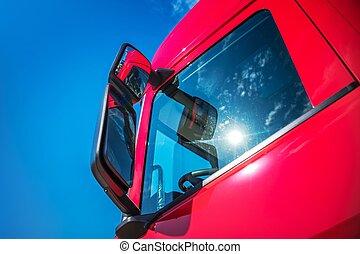 nowoczesny, wózek, czerwony, pół