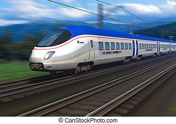 nowoczesny, wysoka szybkość pociąg