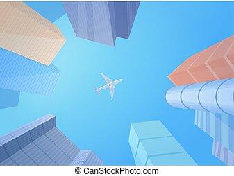 nowoczesny, zabudowanie, drapacze chmur, i, samolot, w, przedimek określony przed rzeczownikami, sky.