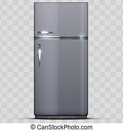 nowoczesny, zamrażarka, refrigerator., lodówka