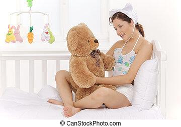 noworodek, kobieta, niedźwiadki, cielna, młody, dymki, nosić...