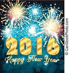 nowy, 2016, barwny, szczęśliwy, rok