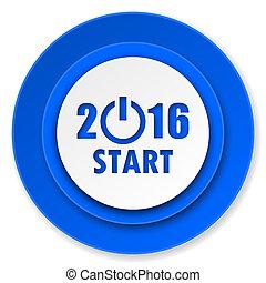nowy, 2016, rok, ikona