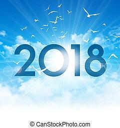 nowy, 2017, dzień, karta, powitanie