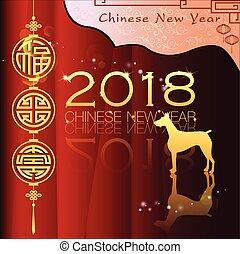 nowy, abstrakcyjny, chińczyk, rok