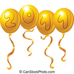 nowy, balony, rok