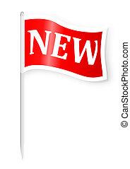 nowy, bandera, słowo, czerwony