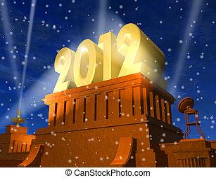 nowy, celebrowanie, rok, 2012